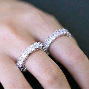 NEW 18K White Gold Square Diamond Eternity Ring